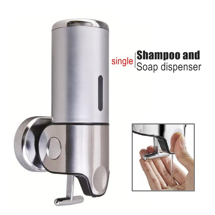 Wall-Mounted Liquid Soap Dispenser Pump Stainless Steel Plastic Shampoo