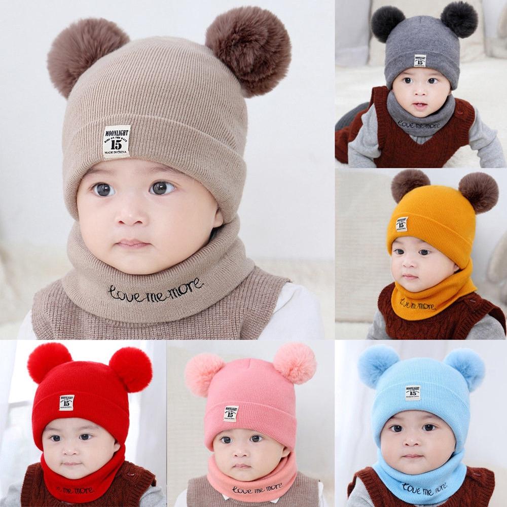da1fb1a0b Raya💥💥 Kids Baby Boy Girl Pom Hat Winter Knit Crochet Beanie Cap Scarf  Set💥💥