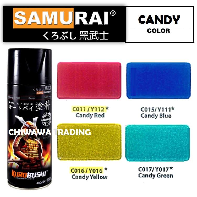 Samurai Candy Colours High Gloss Clear Coat Tone C011 Red C015 Blue C016 Yellow C017 Green Aerosol Spray Paint Motor Cat