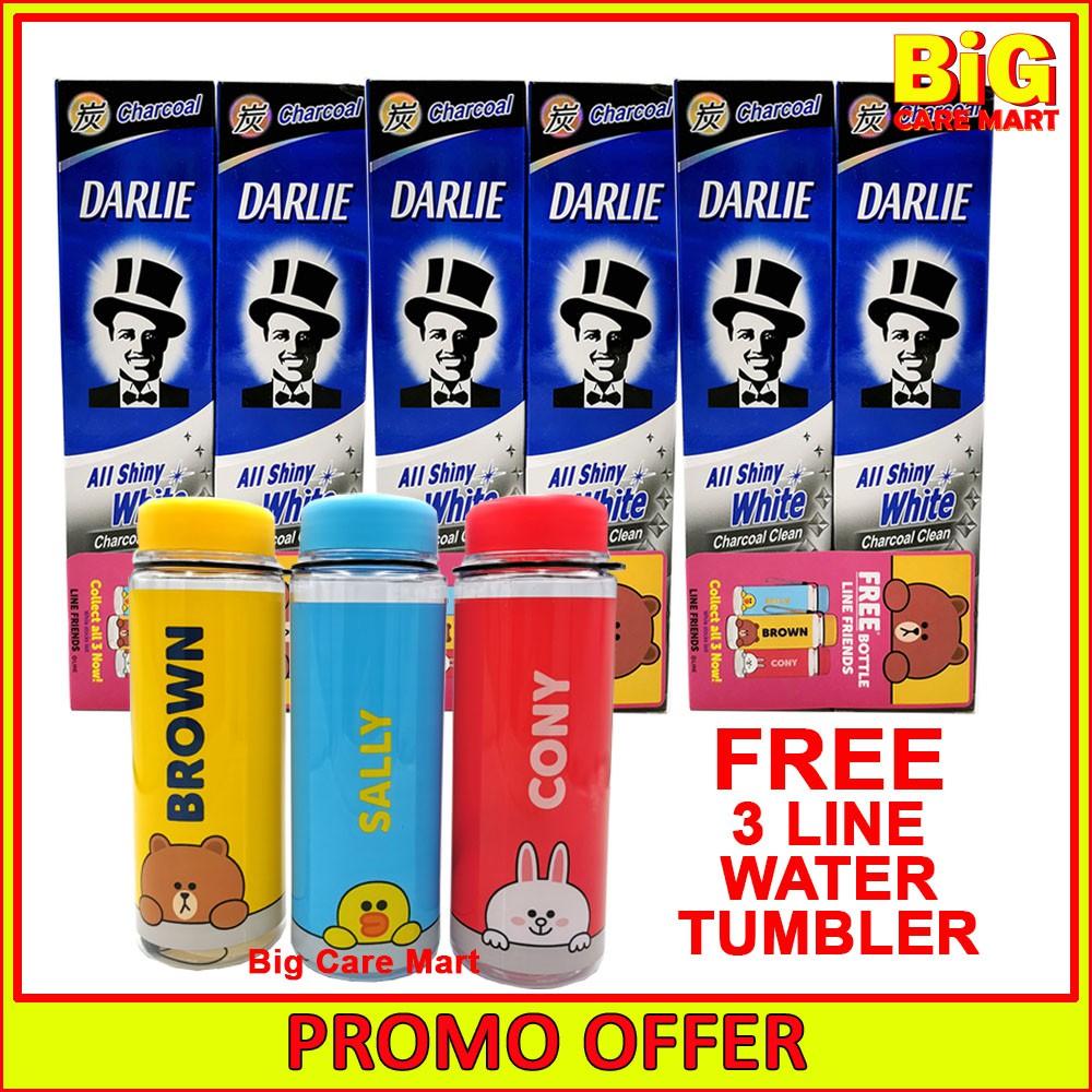 Darlie All Shiny White Charcoal Clean 140gX6 + 3 Line Tumblers
