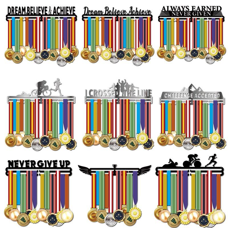 *NEVER GIVE UP* steel store 36 medals Medal Hanger//Holder//Display//Rack//Hook