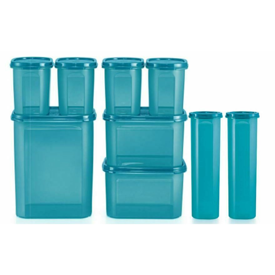 Tupperware Modular Mates MM Oval Square Round Blue Airtight Container
