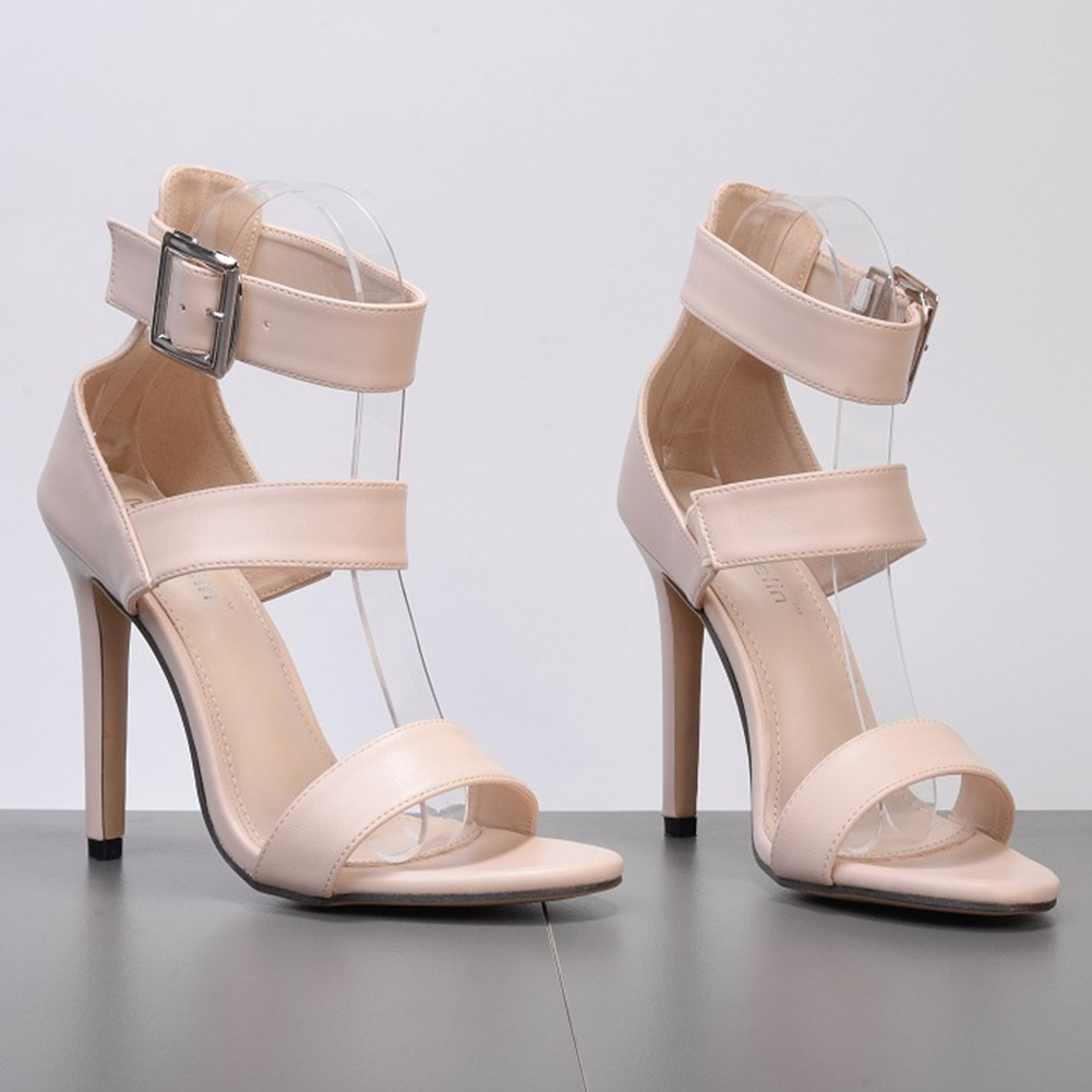 21536c7590a DILIDAP Ladies Buckle High Heels Open Toe