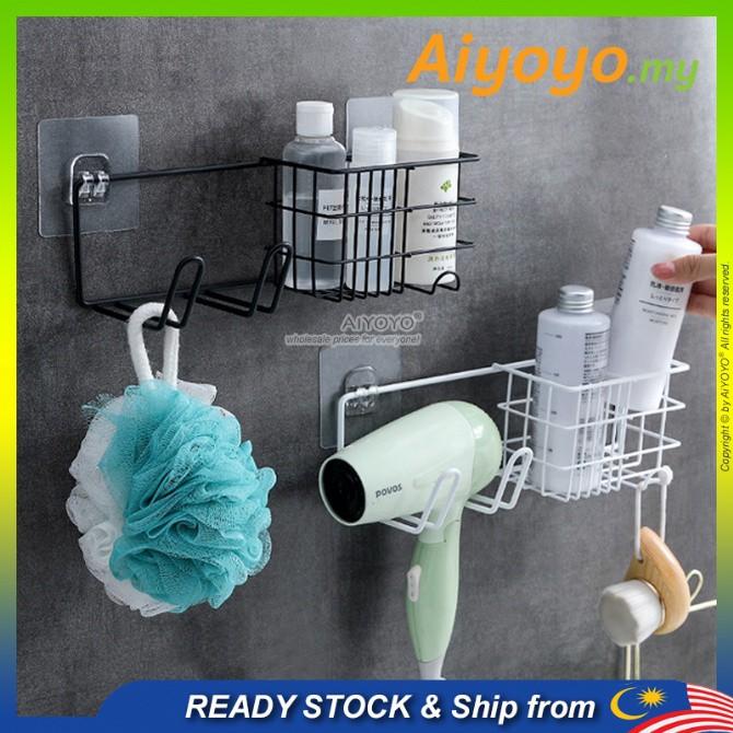 Wall Mounted Bathroom Shampoo Storage Shelves Shampoo Rack Hair Dryer Rack Toilet Storage Rack Rak Bilik Mandi Rak Tanda