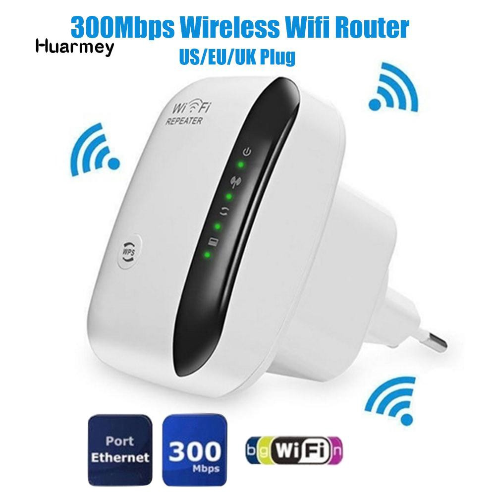 ★Hu US/EU/UK Plug Socket 300Mbps Wireless WiFi Router AP Repeater WLAN  Extender