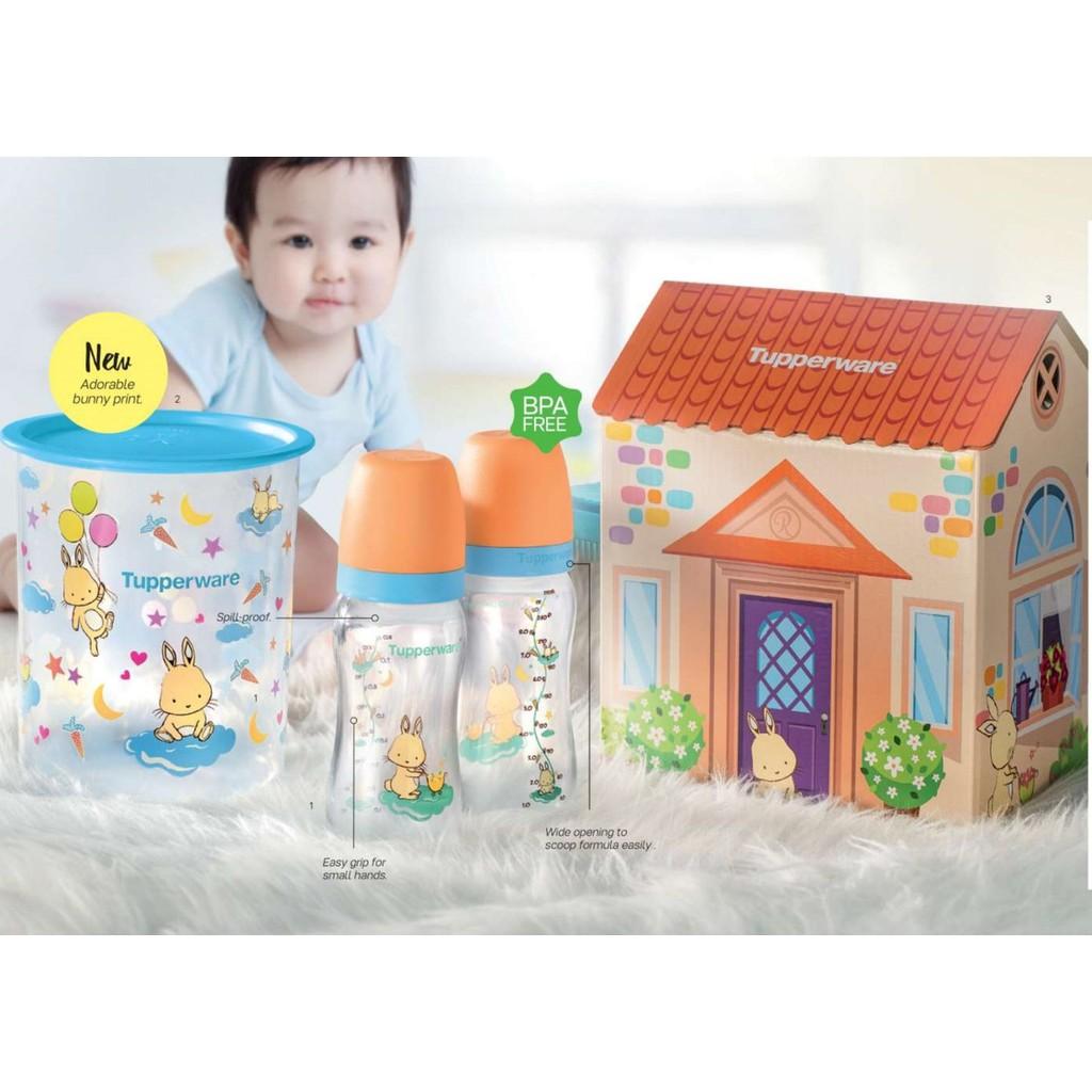 Tupperware Gift Set Happy Bunny Bundle Botol Susu Baby Bottle with Teat