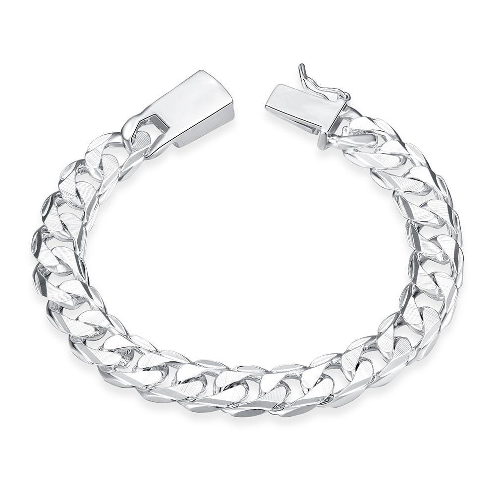 10MM Square Buckle Side Tattoo Men\'s Geometric Silver Chain Bracelet