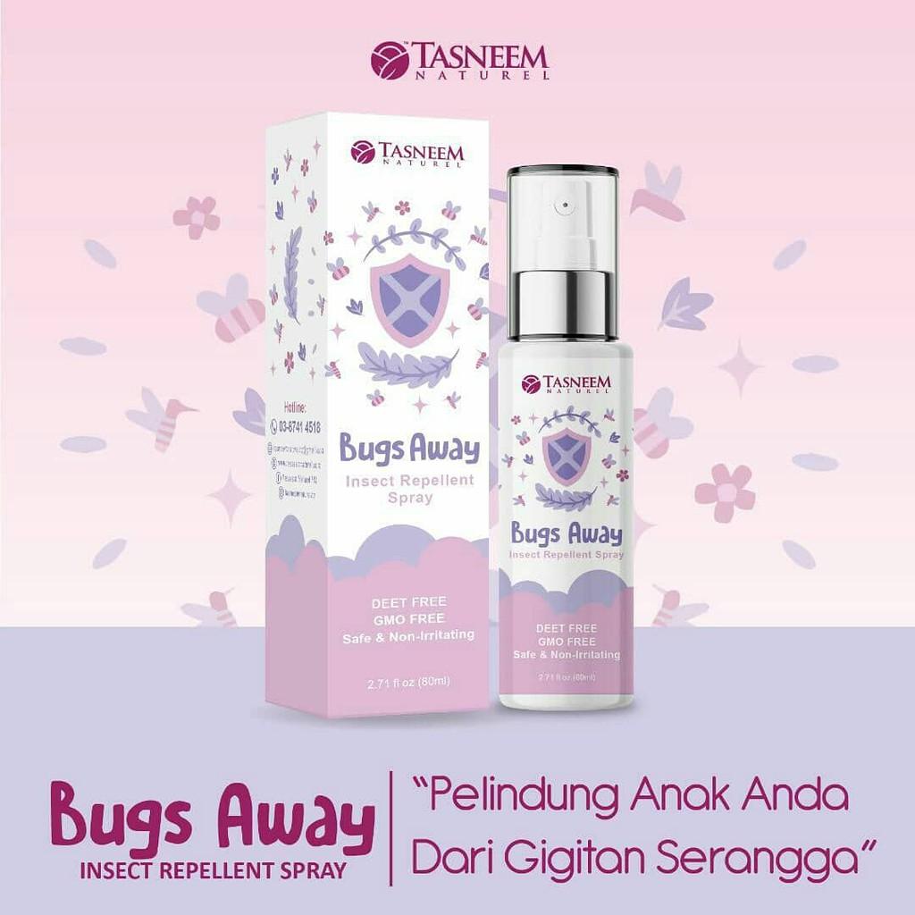 Bugs Away / Spray Semulajadi Penghalau Nyamuk Ekstrak Serai by Tasneem Naturel with Free Gift