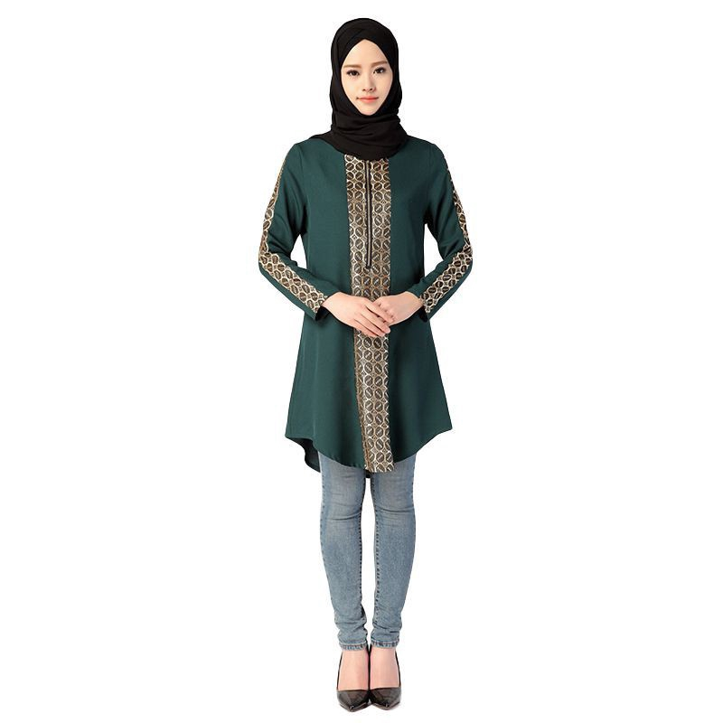 b628e3898 Raya Muslim Women Long Sleeve Islamic Turkish Malaysian Long Blouse Tops