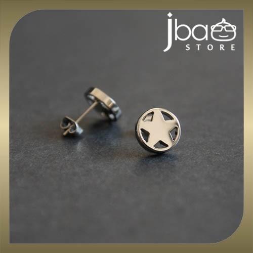 Male Stainless Steel Earring Men's Stud Round Star Studs Earrings (1 unit)
