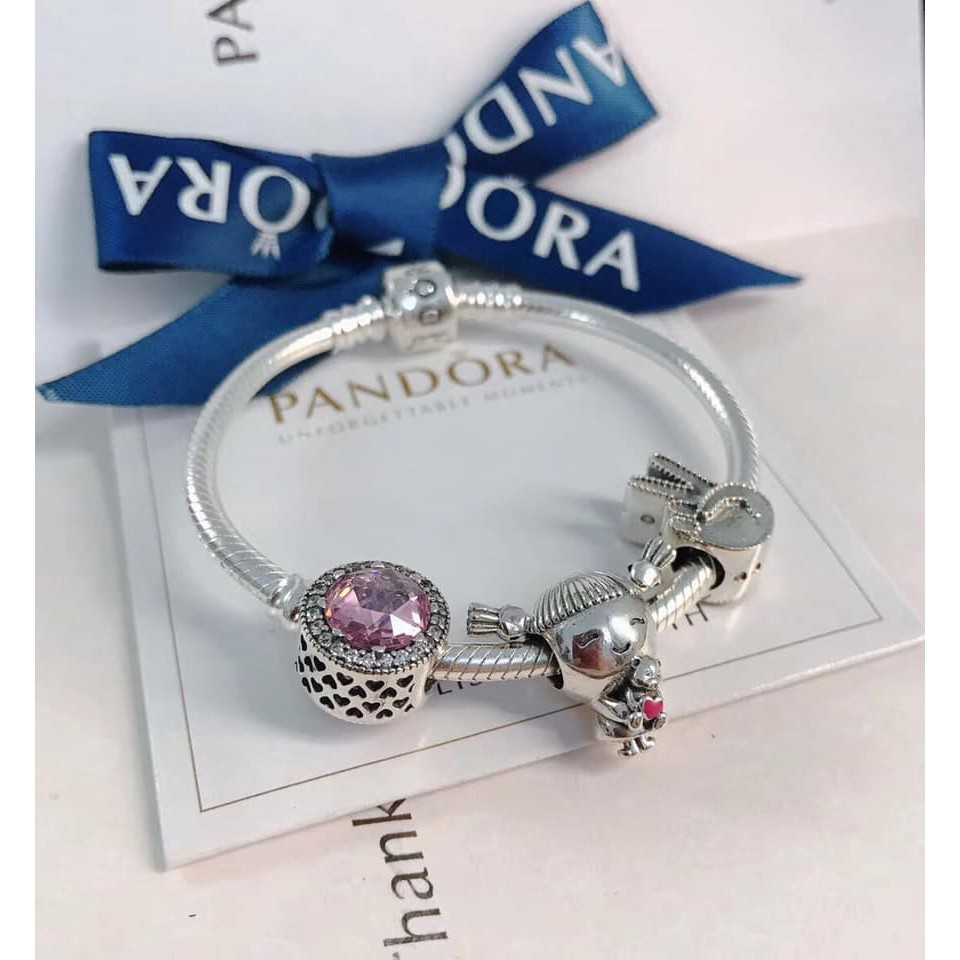 Authentic Pandora Bracelet With Charms Charm Bracelet With Gift Box Shopee Malaysia