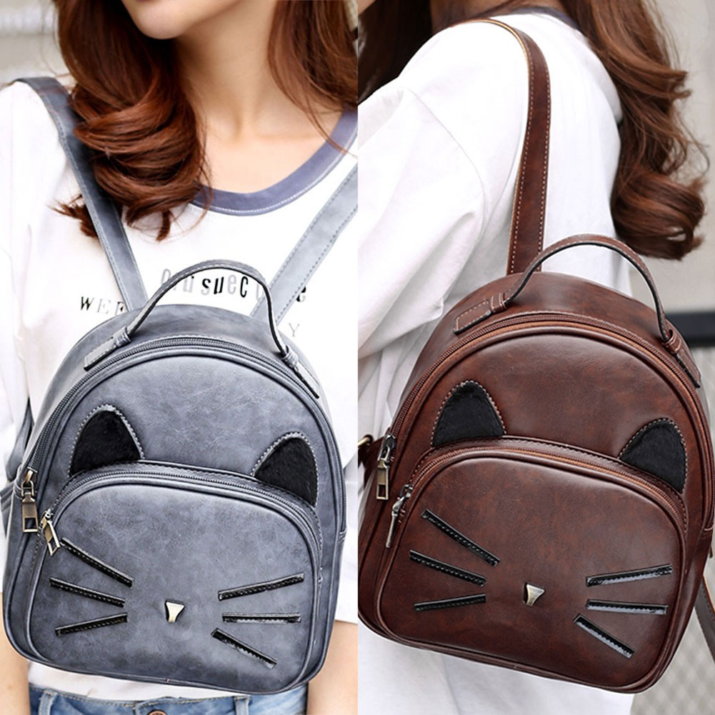 Women PU Leather Cartoon Cute Cat Printed Backpack Girls School Bag ... 369c0d2f0d086
