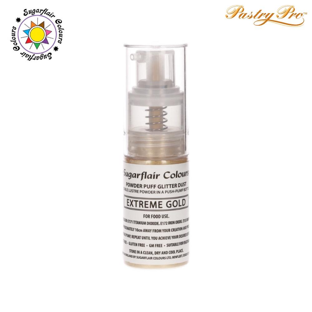 Sugarflair, Pump Spray Glitter Dust Powder, Extreme Gold