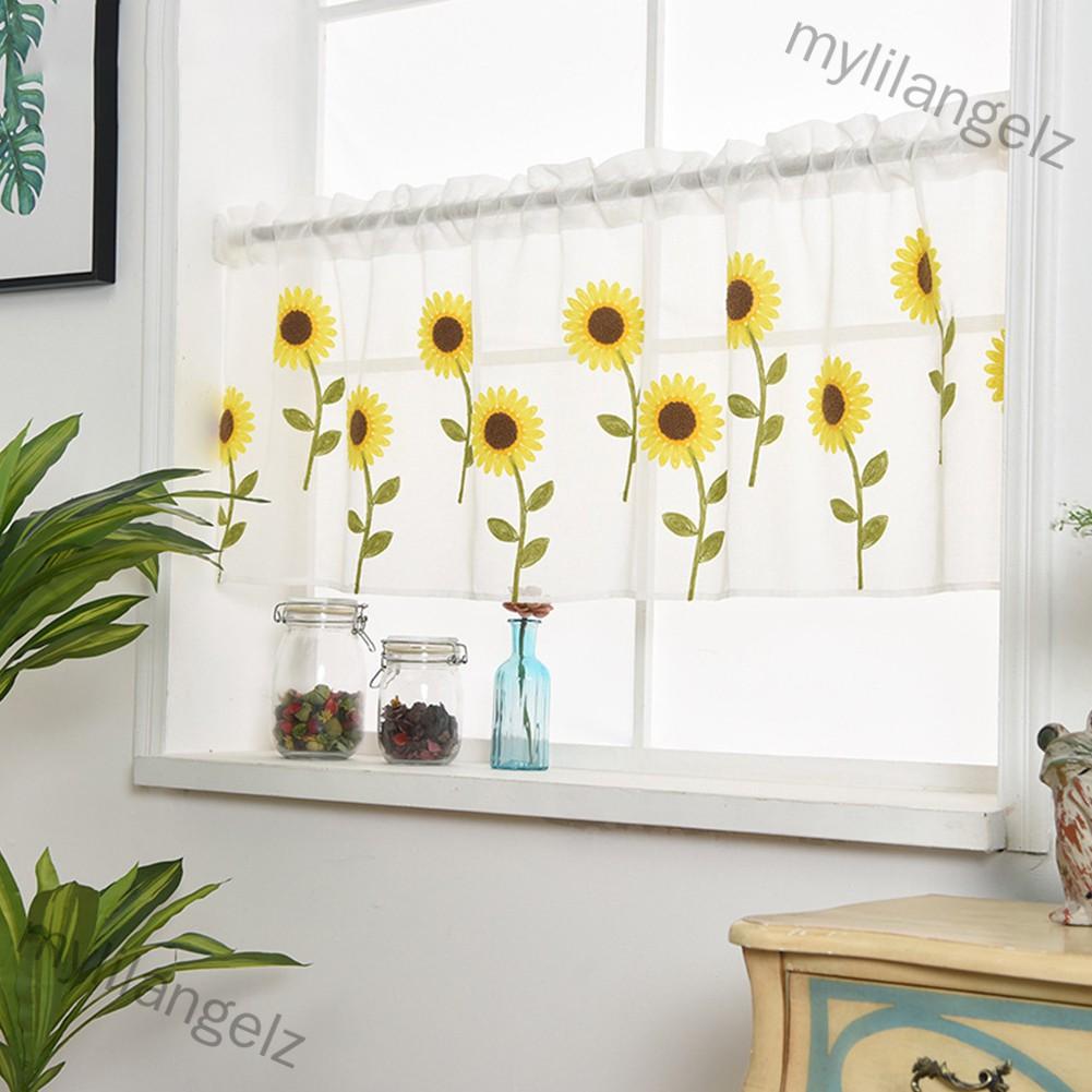 Mylilangelz Home Daisy Embroidery Short Curtain Drapes Valance Light Shading Panel