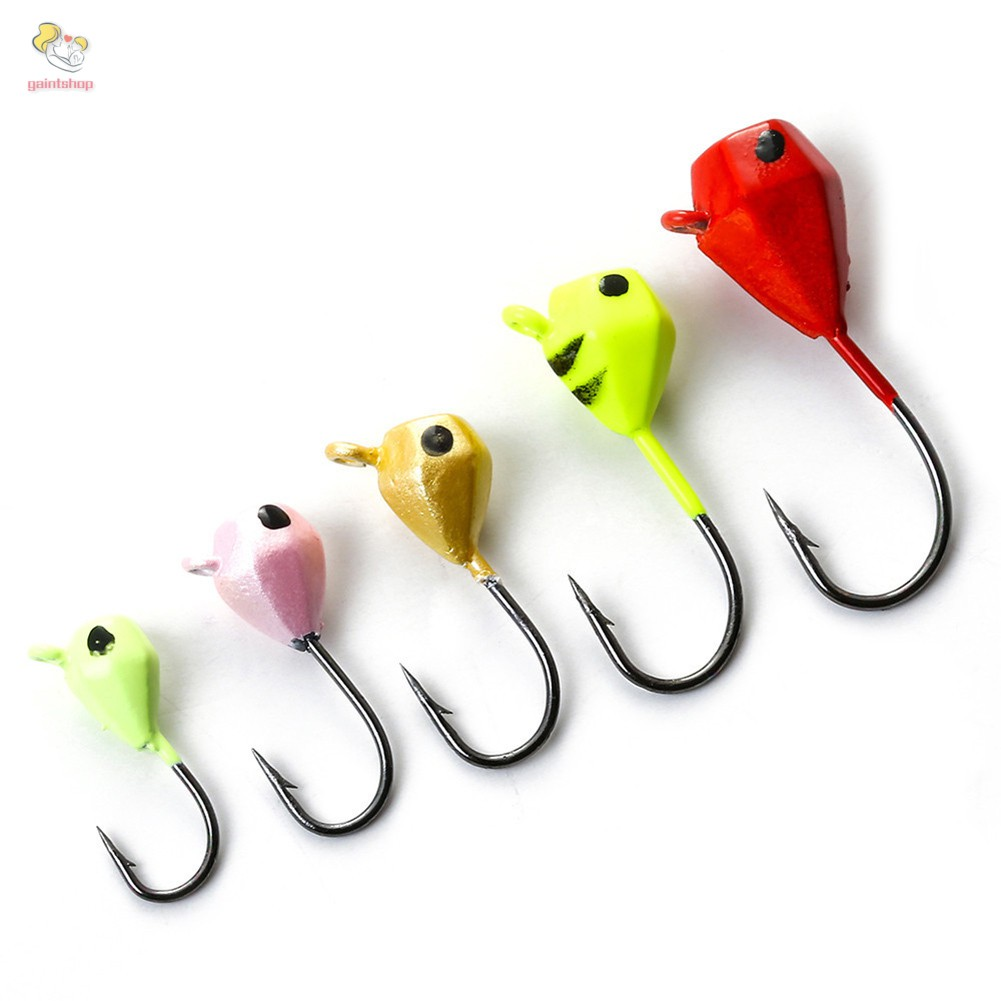 96Pcs Fishhook Fly Tackle Worm Jig Lead Head Lure Bait Carbon Steel Fishing Hook