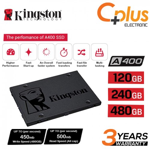 """Kingston A400 120GB/240GB/480GB SSD SATA 2.5"""" (SA400S37)"""