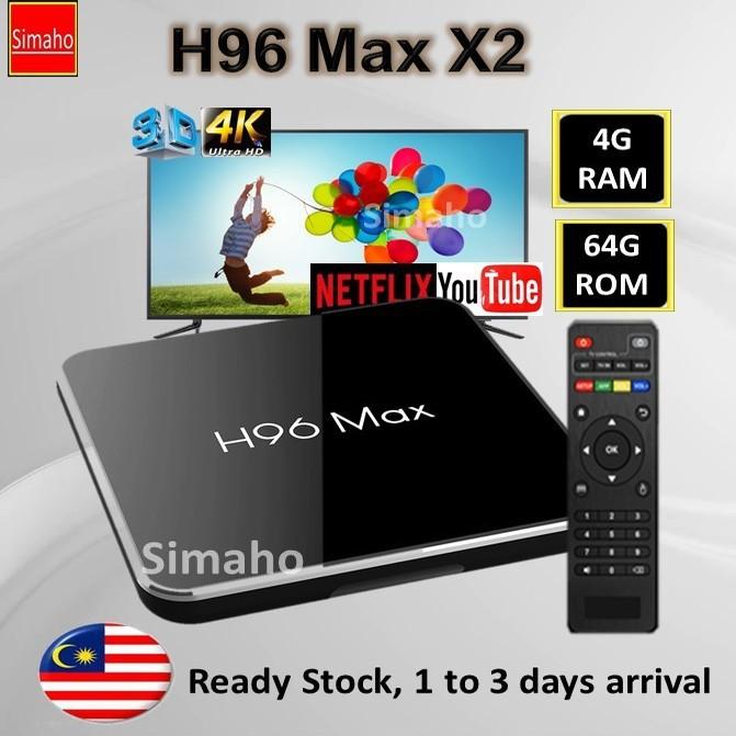 🔥Pre-installed live channels + Latest Apps🔥 H96 Max X2 TVbox 4G Ram 64G  Rom 5G Wifi 4K Bluetooth Amlogic S905X2 TV box