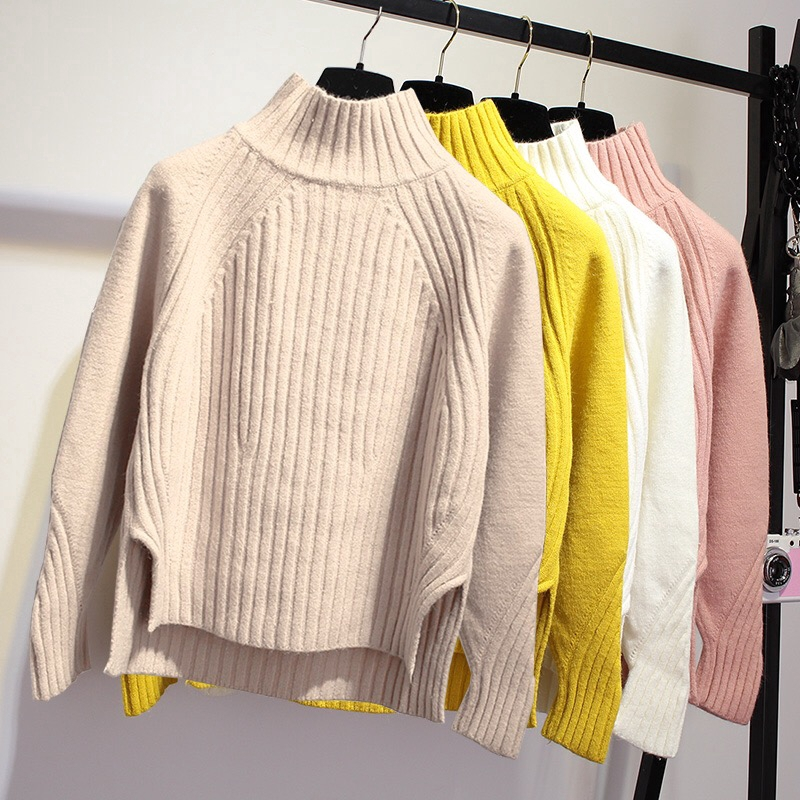 Women Long Sleeved Knitted Sweater Basic Pullover Casual Wool Tops Knitwear