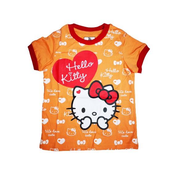 POLOUS Girl Cotton Short Sleeve Round Neck Shirt 9017-KITTY