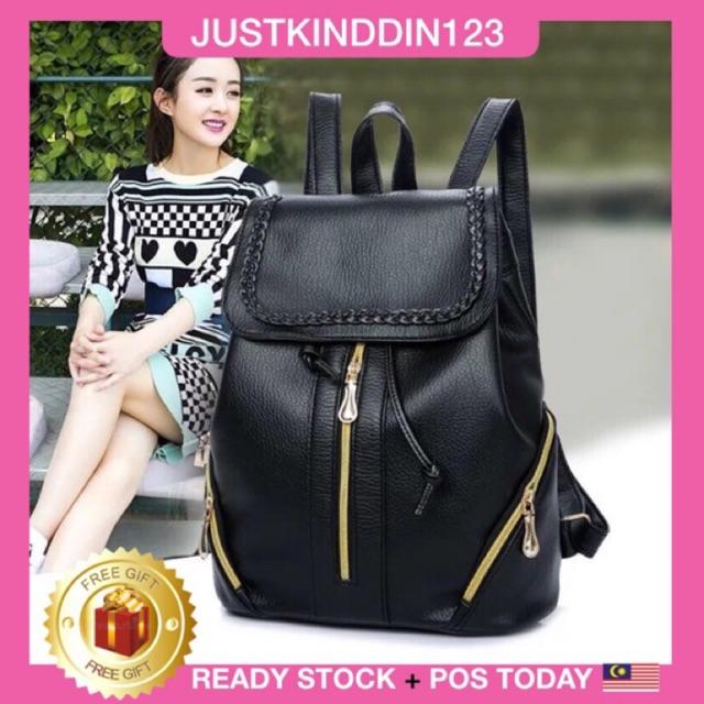 READY STOCK+3ZIP SIDE ZIP BACKPACK Bag PU Handbag Bag Sling Bag Purse+