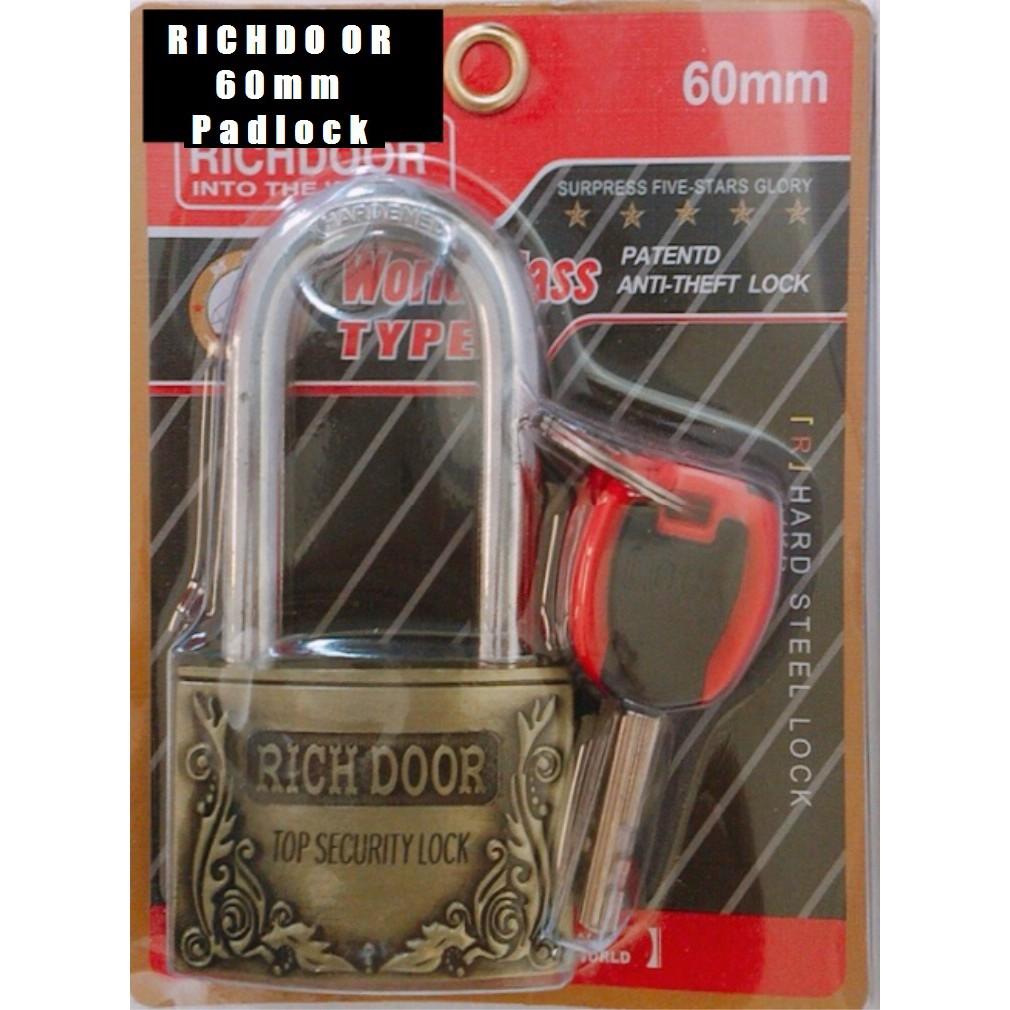 RICHDOOR Zinc Alloy Bronze Long Head Pad Lock Anti Cut Anti Rust Premium Quality Pad Lock 60mm