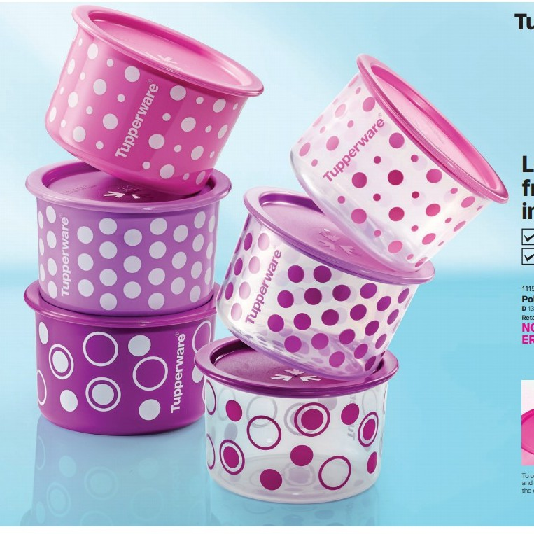 Tupperware One Touch Topper Junior Polka Pearls 600ml 1 Nos Only / 1 Biji / Random Choice
