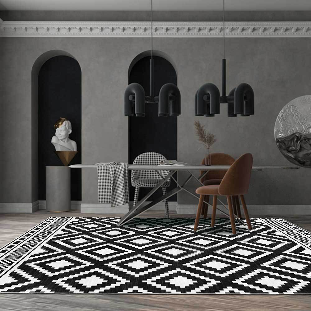 Nordic Grids Kitchen Rugs Doormat Dining Room Bedside Area Rug Modern Black And White Simple Geometric Pattern Living Room Corridor Mat Carpet Floor Mat Customization Shopee Malaysia