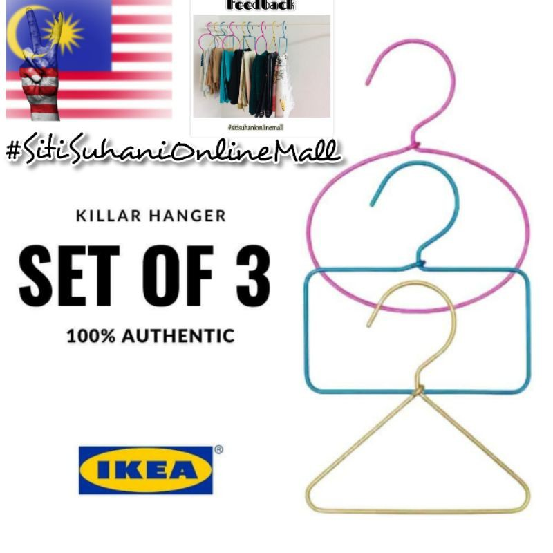 IKEA Killar scarf/tudung/ties/belts hanger set of 3 aluminium authentic