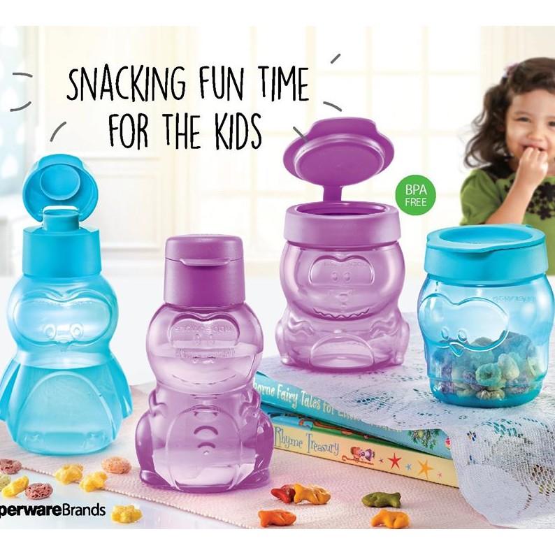 Tupperware Mini Cartoon Eco Bottle 350ml For Kid/ Dino Bear Eco Bottle or Snack Cup/ Hello Kitty Eco Bottle