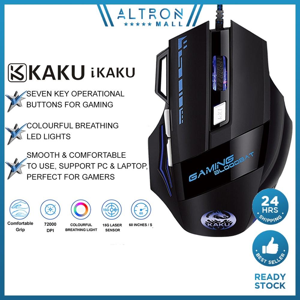 IKAKU KAKU JINGYOU Gaming Mouse Wired USB Seven Key Multi Functional Colourful Breathing Light PC Laptop Windows