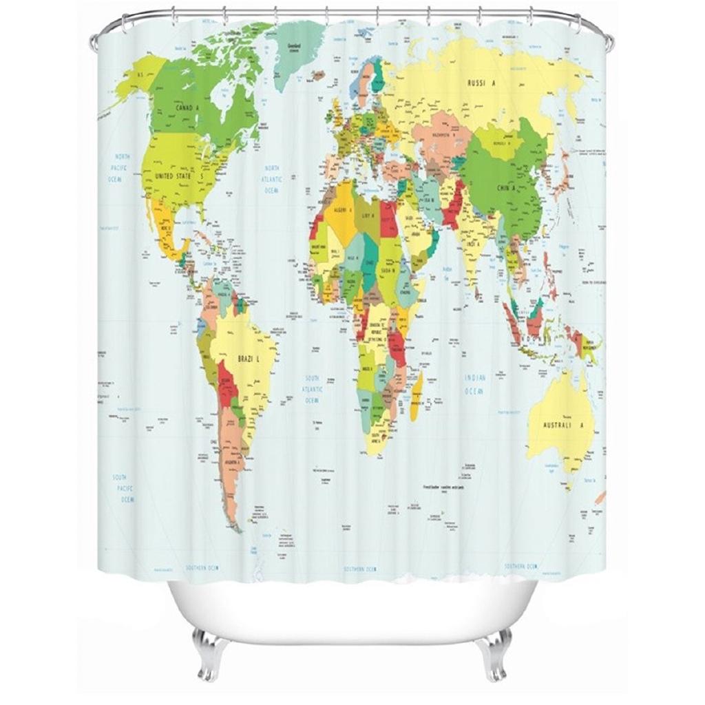 Polyester World Map Bathroom Bath Waterproof Fabric Shower Curtain 180 180cm