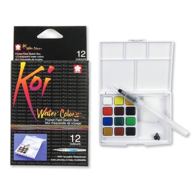 สีน้ำ Koi water colors 12สี พร้อมพ