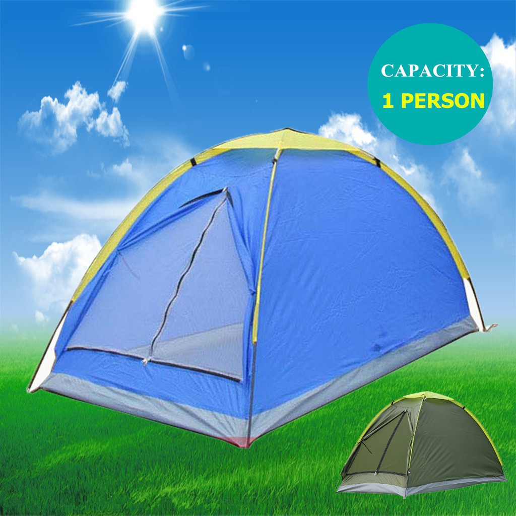 Camping Tents ultra-light 1 Person Camping Tent Single Layer Waterproof Portable Blue
