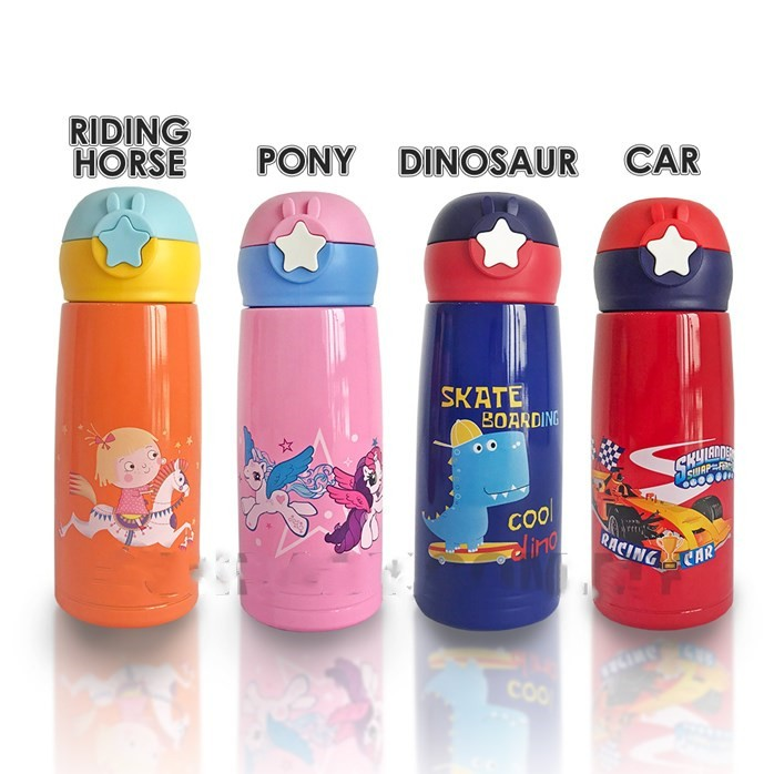 MALAYSIA 0: FREE BEG BOTOL AIR! 600 ML BOTOL AIR THERMOS ADA STRAW / STAINLESS STEEL THERMOS KIDS BOTTLE WITH STRAW