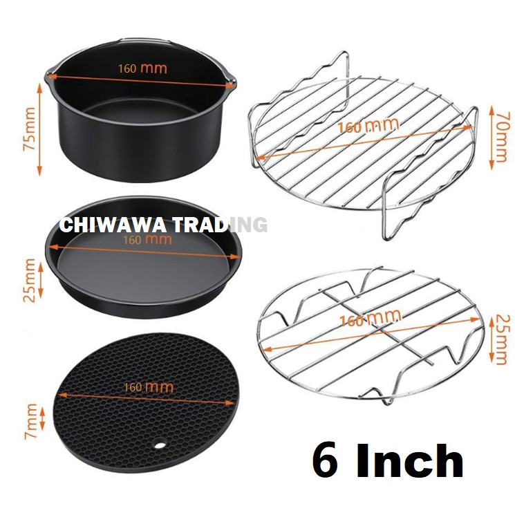 6 or 7 Inch 8 Pcs Set Universal Air Fryer Accessories Skewer Rack Roast BBQ Grill Pizza Tray Baking Pan Cake Barrel Pot