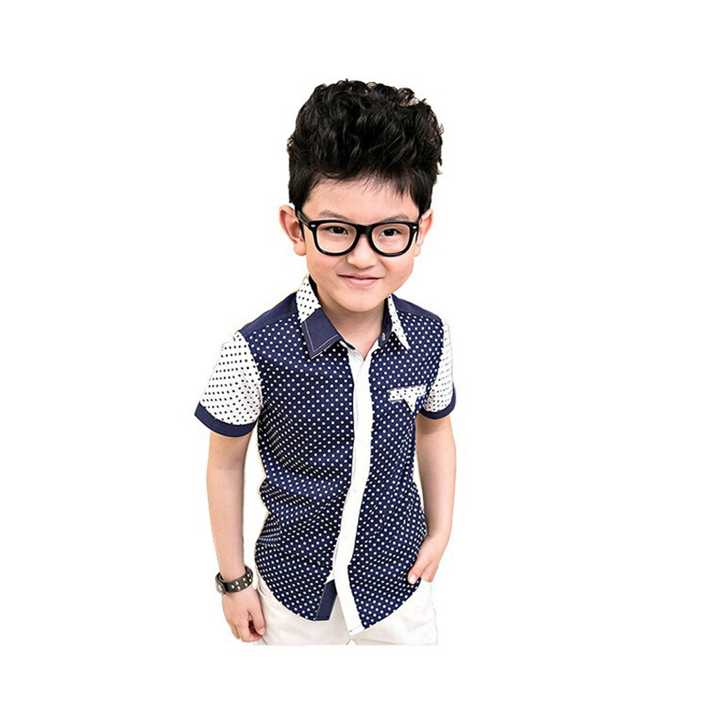 7b58950fa42fe Boys Polka Dot Dress Shirts Kids Summer Short Sleeve Cotton Dot Shirts