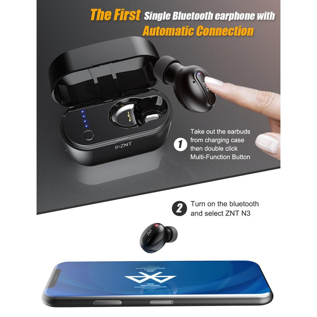 ZNT N3 Bluetooth 5 0 Auto Connect Single Mini Wireless Earphone - Black (1  Unit)