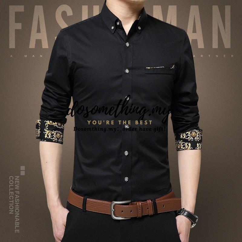 M-2XL Men's Casual Floral Shirt Long sleeve business slim fit men shirt big size Fashion Solid Color YoHomie