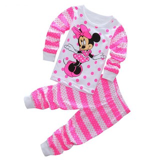 2pcs Kids Baby Girls Mickey Minnie Mouse Sleepwear Outfits Pyjamas Pjs Age1-8Yrs