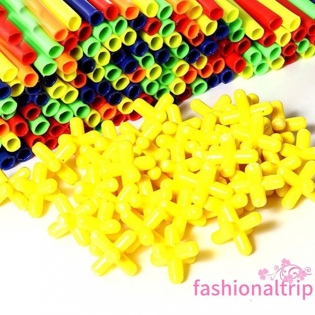 100pcs//Set Kids 4D Plastic Straw Building Blocks Joint Construction DIY Toy Gift