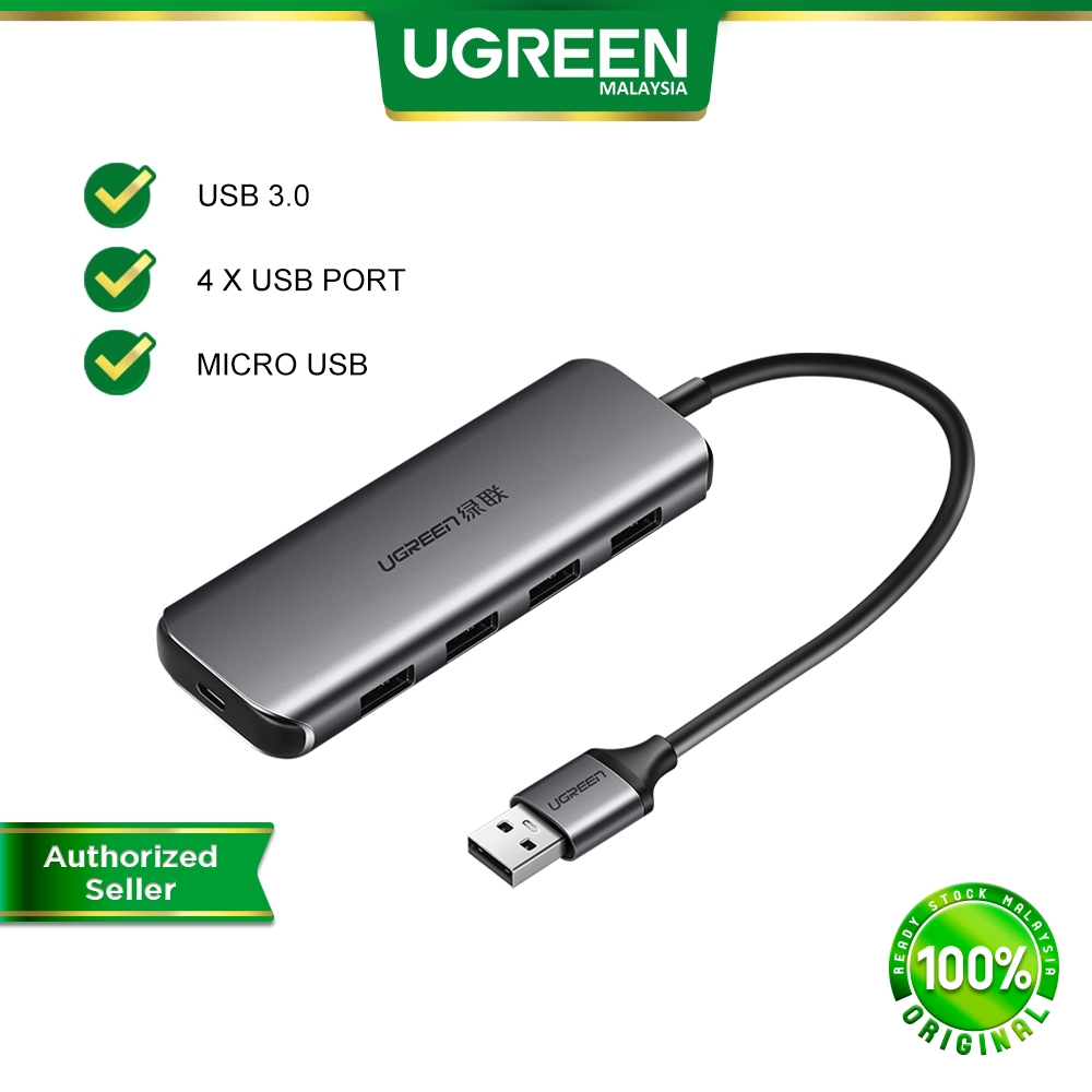 UGREEN USB 3.0 High Speed with 4 Ports Hub Aluminum Alloy Extender Connector with Power Supply Interface for PC Laptop