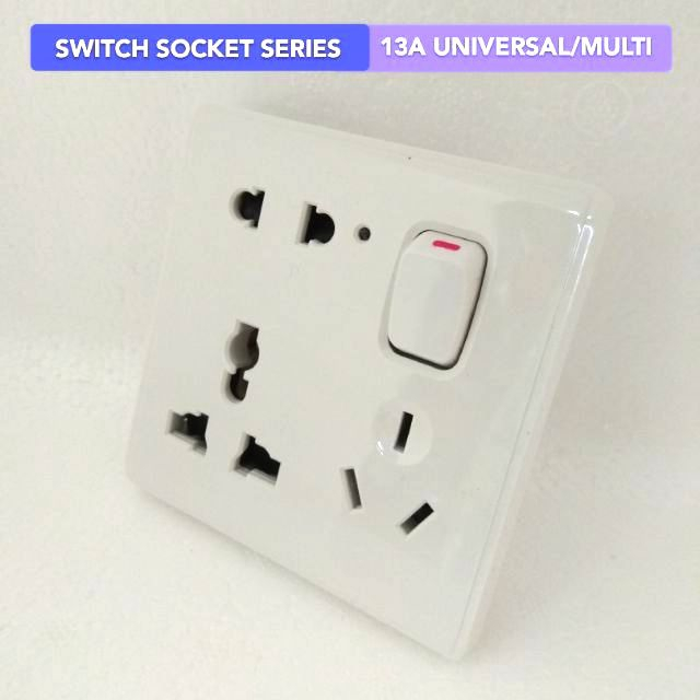 Switch Socket Outlet Series 13A 1Gang Universal, 2pin 3pin US Euro China Australia plug socket