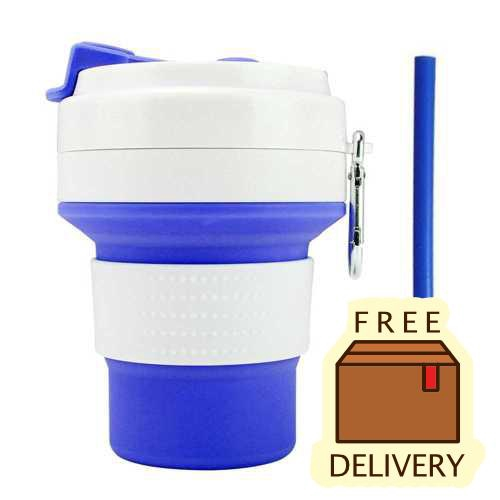 Foldable Cup with Straw for Outdoor Camping Travel Office BPA Free 350ml (Blue)