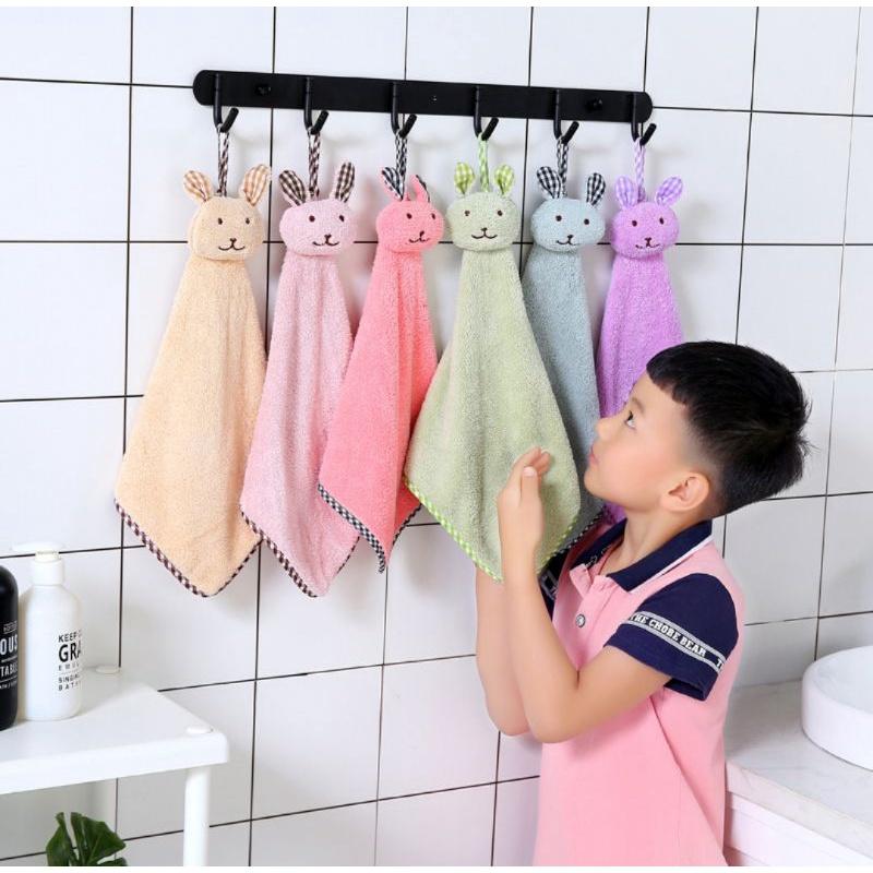 【Ready stock】珊瑚绒加厚款卡通兔头吸水擦手巾 43*25cm