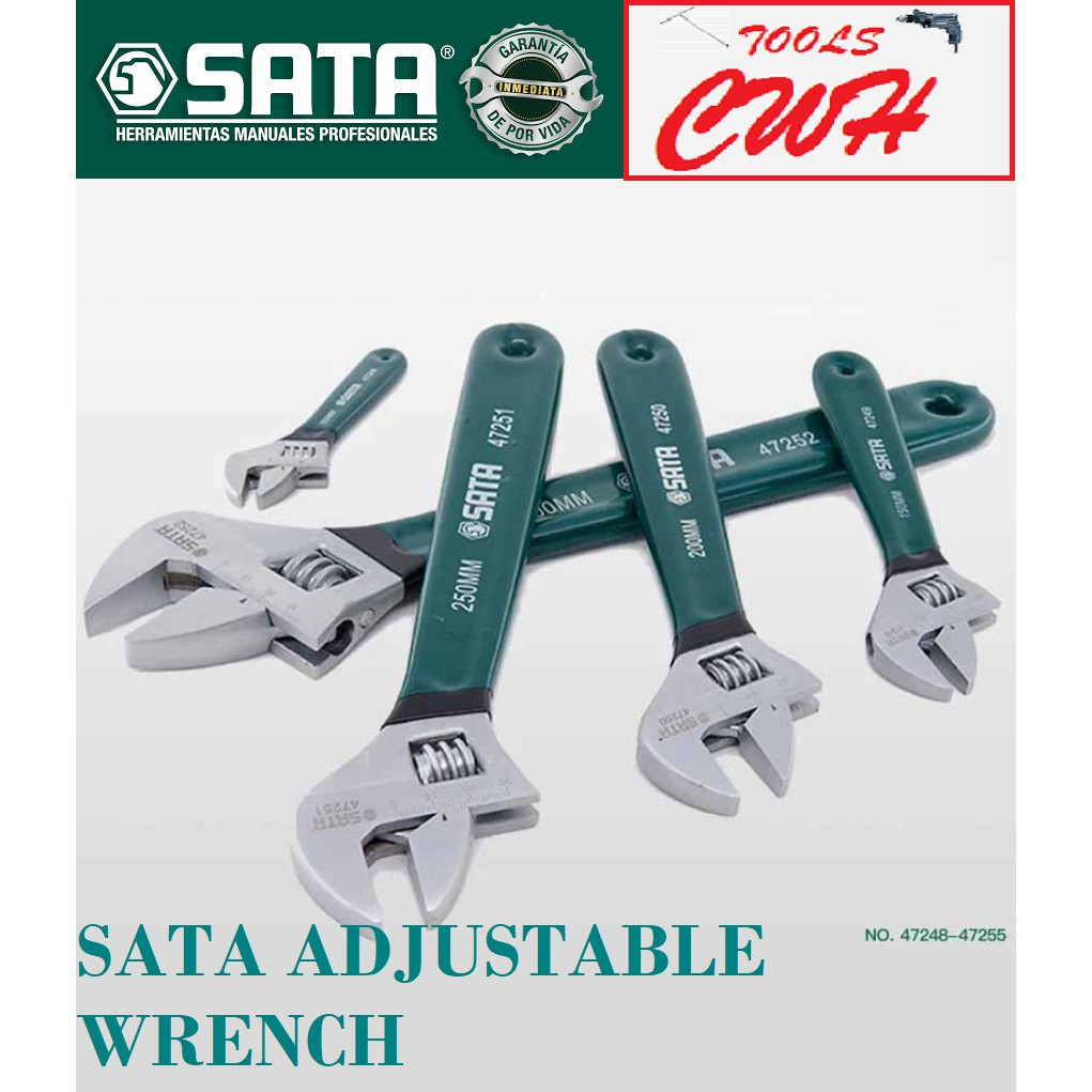 """SATA47248-47255 4""""-24""""ADJUSTABLE WRENCH with Plastic European-Style Long Handle Professional Spanner Repairing Hand TooL"""