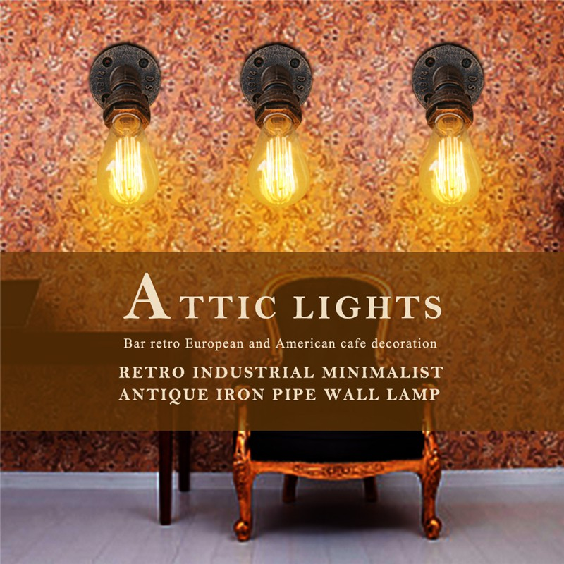 Small Wall Lamp Loft Light Bar Retro Industrial Simple 110v-240v Antique Iron Pipe Retro European And American Cafe Decoration Lamps & Shades Lights & Lighting