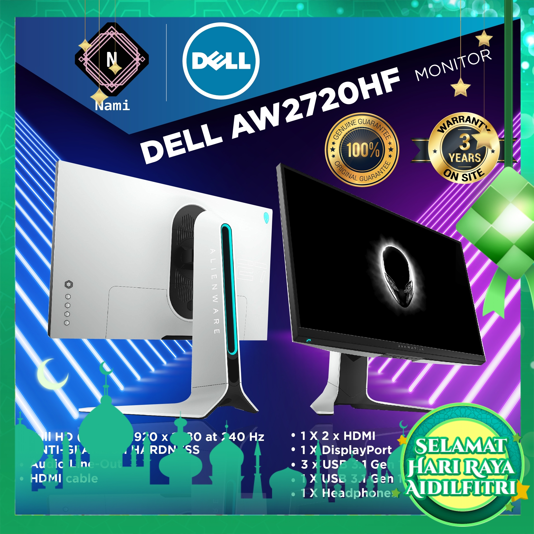"""Dell Alienware AW2720HF 27"""" IPS Gaming Monitor (DP,2xHDMI,3 Years Warranty)"""