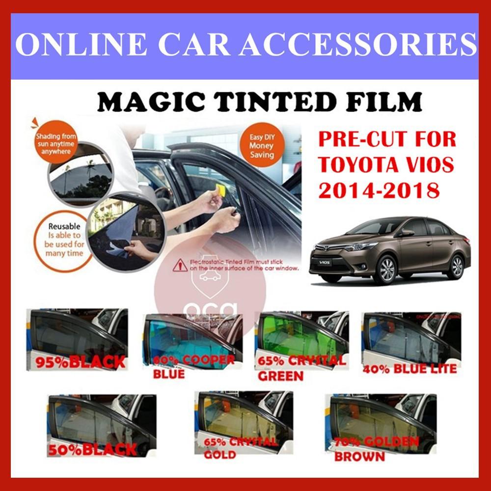 Toyota Vios 2014-2018  - Pre-Cut Shape Magic Tinted Solar Tinted (4 Windows & 2 Triangle /4 Windows+Rear)