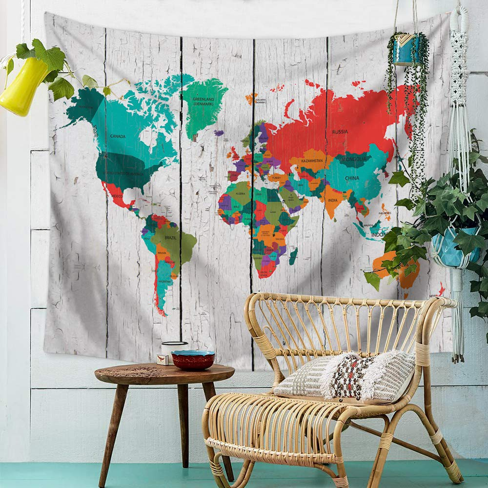 World Map Tapestry Wall Hanging Tapestry Mat Wall Decoration Hanging Cloth  Beach