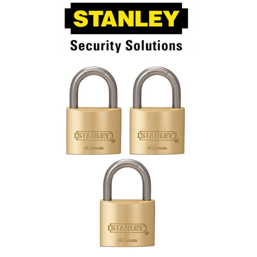 STANLEY STANDARD SHACKLE KEY ALIKE BRASS PADLOCK  S827-417 40MM SECURITY LOCK
